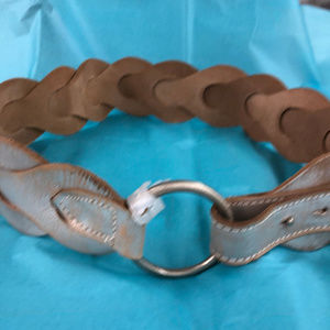 Old Navy Accessories - NWT Leather Silver & Tan Belt